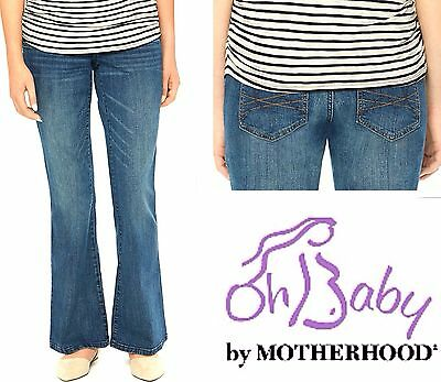 New OH BABY MATERNITY Embroidered Flare Jeans Sm 4-6 MOTHERHOOD Secret FIT Belly