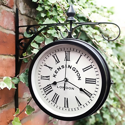 Outdoor Hanging Station Kensington London Wall Clock, Garden black and white