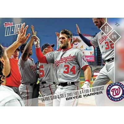 2017 Topps Now #64 BRYCE HARPER Grand Slam and Solo Shot Washington Nationals
