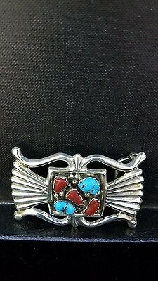 Navajo Signed Ajw Sterling Silver Sandcast Belt Buckle Stormy Mt Turquoise Coral