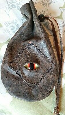 leather dice coin bag pouch medieval renaissance brown drawstring Stitched Eye
