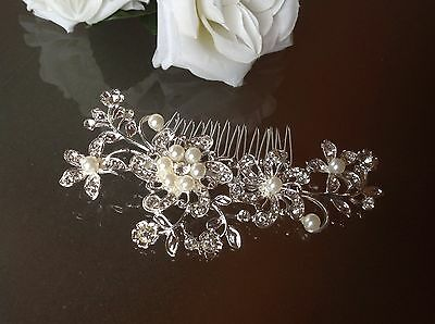 PEARL & CRYSTAL HAIR ACCESSORY With FREE GIFT Wedding Bridal Comb Clip Diamanté