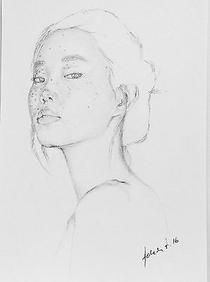 Portrait Of a Girl In Pencil, Fracked Face,Original Art, Oriental, Young