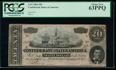 AC T-67 $20 1864 Confederate CSA PCGS 63 PPQ uncirculated LOW SERIAL NUMBER 102