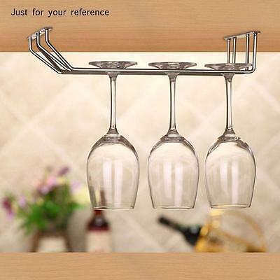 Wine Glass Under Cabinet Rack Holder Shelf Hanger Stemware Bar Dining Shelf R5Z0