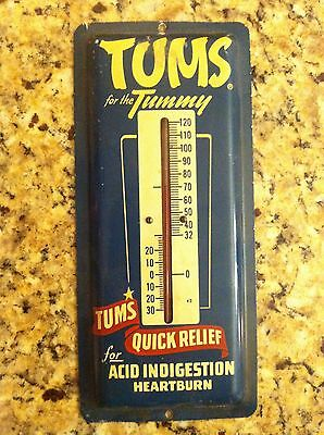 Vintage Tums for the Tummy thermometer sign Quick Relief tin aluminum rare ad