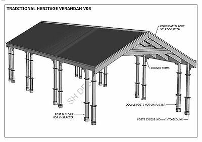 TRADITIONAL HERITAGE CARPORT / VERANDAH - V05 - Full Building Plans
