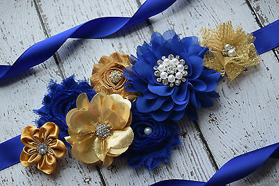 Maternity Sash, gold royal navy Sash, flower Belt, maternity sash, wedding sash