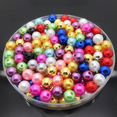 NEW 6mm 100Pcs Mix Colors Acrylic Round Pearl Spacer Loose Beads Jewelry Making