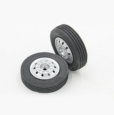 2x NEW 1:24 Tire model Trailer tires Front wheel Toy tires Rubber tires Φ 4.5 CM