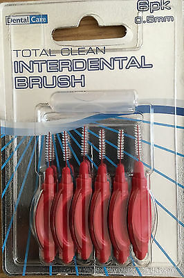 Pack of 6 INTERDENTAL BRUSHES 0.5mm Dental care Floss Flossing Tooth Teeth Oral