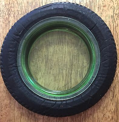 Vintage B.F. Goodrich Silvertown Tire Green Glass & Rubber Ashtray - Gas Station