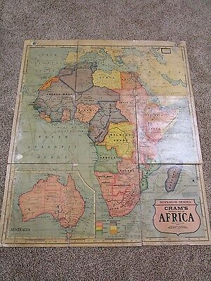 Antique Africa Geo. F. Cram Linen Backed Folding School Map Early