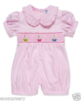 """NEW! Aurora Royal Baby Girls Pink """"Cupcakes"""" Hand-Smocked Cotton Shortie."""