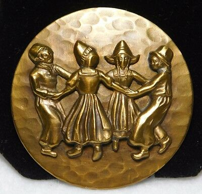 AWESOME~~ LG Antique BUTTON Children RING Around The ROSIE BRASS 1 3/4