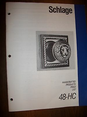 Vtg SCHLAGE- Old - Catalog-Old-Handcrafted Products Price  48-HC-1987-26 pages