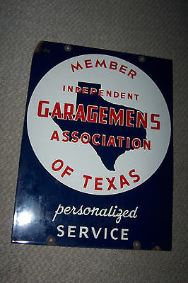 Member Independent Garagemens Ass'n of Texas Porcelain Sign Double Sided