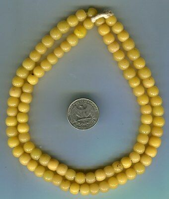 African Trade beads Vintage Czech Bohemian pressed glass greasy yellow prosser