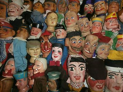 Lrg old   COLLECTION 48  wood/wooden  carved  HEADS PUNCH&JUDY  CHARATER puppet