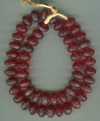 African Trade beads Vintage Czech Bohemian glass red vaseline beads