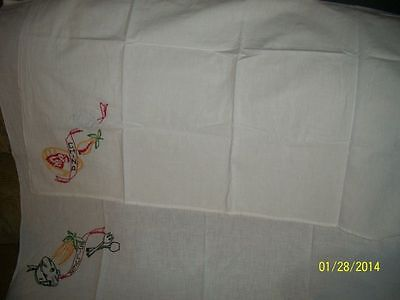 2-Vintage Small White Tableclothes Silverware & China Embroidered NICE!! 29 x 38