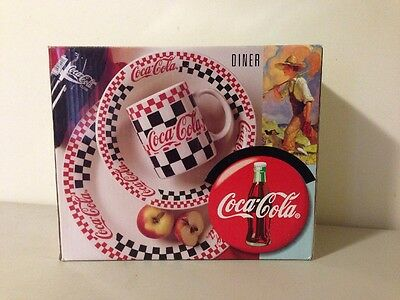 COCA COLA Gibson Checkered Dinnerware Set 12 Pc NEW IN BOX