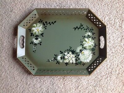 "Vintage Large Nascho Hand Painted Toleware 20"" X 15"" Green W/ White Floral"