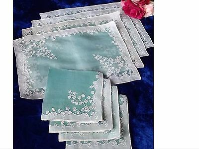 Vintage Madeira (8) Set Napkins Placemats Ivy Sheer Appliqué Green White