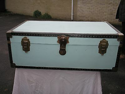 Blue Painted Vintage Steamer Trunk / Storage / Coffee Table / Shabby Chic