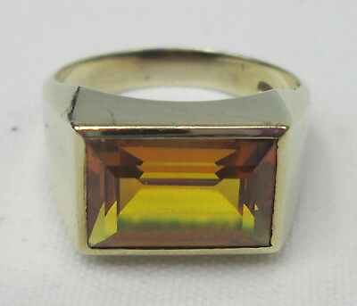 Vintage Chunky 8ct Gold Rectangle Cut Citrine Dress Ring Size O