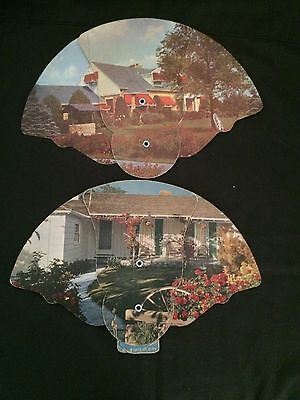 Vtg Funeral/advertising Fan Trifold Cottage/House/Wishing Well 2 Fans 1 Free