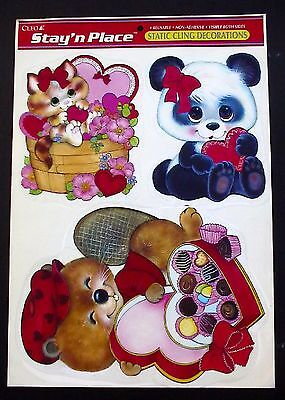 Vintage Cleo Clings Valentines Day Bear Kitty Cat Heart Reusable Window Stickers