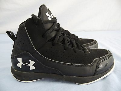 UNDER ARMOUR Youth Boys Girls 2Y Black & White MID HEIGHT Basketball Shoes