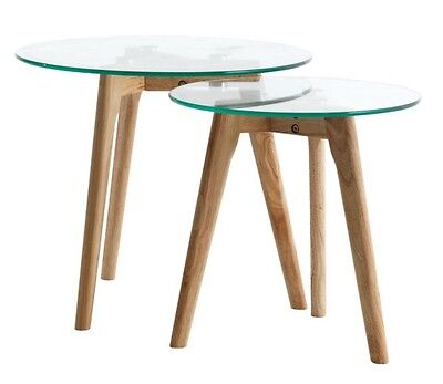 Set 2 Nest Of Side Tables NEW Skandi Minimalist Round Tempered Glass Solid Wood
