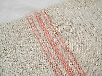 RARE Vtg Antique * PINK * STRIPE European HEMP LINEN Fabric FEED SACK GRAIN BAG