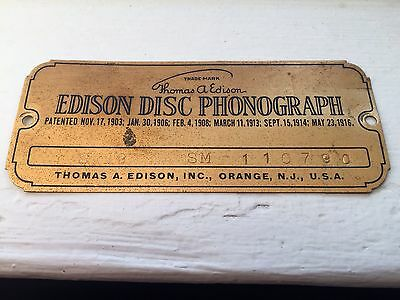Edison Disc Phonograph Brass Name Plate Tag Model S19