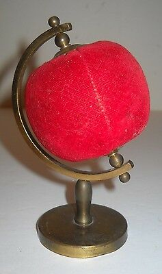 Very Old Metal Sewing Room Globe Shaped Pin Cushion With Brass Stand