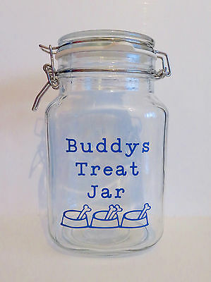 Personalised treat jar vinyl sticker decal dog cat animal pet treats