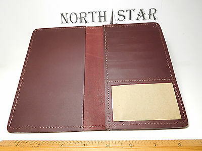 North Star Burgundy Top-Stub Leather C.Card Checkbook Cover-2nd-Made In USA #133