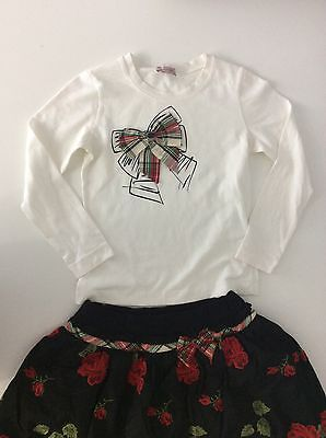 MONNALISA 2 Piece Girls Outfit Set Skirt & Top Flowers Age 10 -12 Years