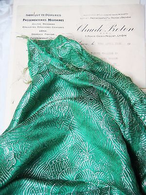 Pc Antique French Lame Fabric Light Gold/Green Metallic/Silk Flapper Couture