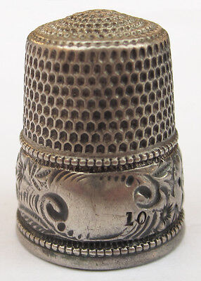 Antique SIMONS BROS Sterling Silver Floral Motif Flowers Leaves THIMBLE Size 10