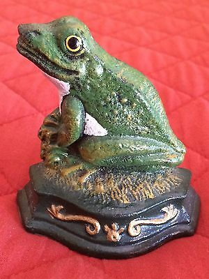 Vintage Cast Iron Frog Doorstop Wedge Door Stopper