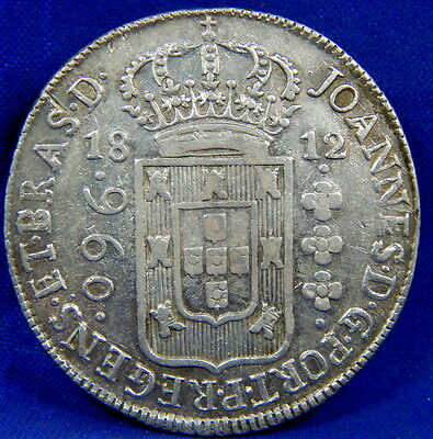 1812 B 960 Reis Silver Brazil Crown Over 8 Reales 1807 Duplo Bastido Study Coin