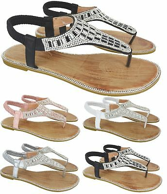 2cac5c8082bf3a Womens Ladies Flat Diamante Party Wedding Toe Post Dressy Sandals Shoes  Size 3-8