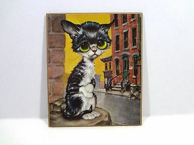 Vintage Big Eye Kitten/Cat Art Print Plaque By Girard Goodenow GIG