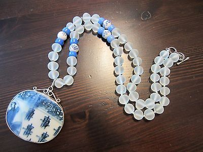 ANTIQUE CHINESE PORCELAIN SHARD 925STERLING SILVER PENDANT&PEKING GLASS Necklace