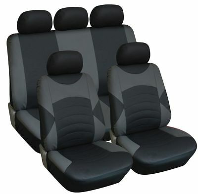 Universal Luxury Leather Look Car Seat Cover Full Set Black / Grey -High Quality