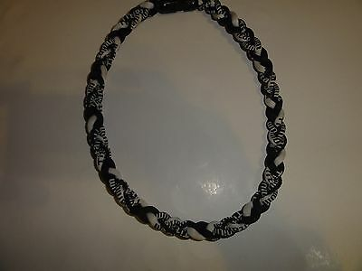20 Inch Black & White Braided Titanium Sports Necklace