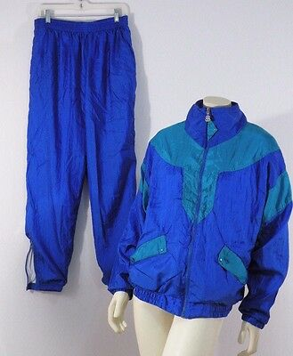 Vtg 1980s Bill Blass Color Block Windbreaker Jacket Pants Windsuit  L